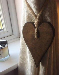 Pair Of Handmade Dark Wooden Long Heart Curtain Tie Backs With Jute Rope £11.99