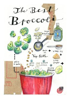Illustrated broccoli recipe. Watercolour, ink and collage.