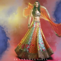 Life is like a rainbow. You need both rain and sun to make its colors appear. Bridal Mehndi Dresses, Desi Wedding Dresses, Mehendi Outfits, Indian Gowns Dresses, Indian Wedding Outfits, Bridal Outfits, Indian Outfits, Designer Bridal Lehenga, Bridal Lehenga Choli