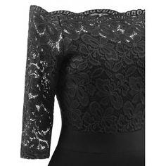 Lace Off The Shoulder Vintage Flare Dress - BLACK XL