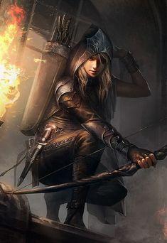Female archer / ranger / ranged assasin RPG character inspiration for DnD / Pathfinder / fantasy games