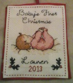 This is the pattern of the Finished Cross-Stitch Babys First Christmas Ornament from my shop found here: https://www.etsy.com/listing/217725521/completed-peronsalized-babys-first?ref=listings_manager_grid. We offer personalization of the pattern free of charge.  Personalization includes the name of the child and the year of his or her first Christmas, as well as the color of the pajamas, hair color and skin tone.  Possible color choices include: Hair color: red, blond, light brown, brown…