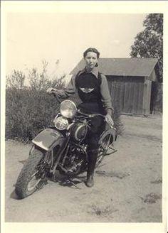 Violet Hazel Anderson on her Harley Davidson Knucklehead, 1936