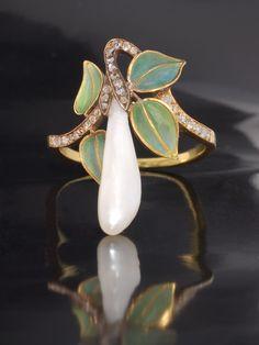 Art Nouveau Pearl, Diamond And Enamel Ring