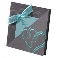 Einladungskarte Hochzeit türkis-anthrazit 723042