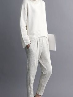 Sweater: white knitted grey pants office outfits minimalist chino pants