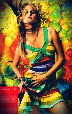 """""""The feminine fit, cheerful prints, and optimistic spirit of my designs are my contribution to American fashion. In 2001, my rainbow-striped dress, shown on Sex and the City, captured that breathtaking moment when the lights came back on in New York after 9/11. """"(...)  ~ Nanette Lepore    IMPACT pg 172    Photo Credits: Ruven Afanador"""