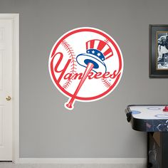 new york yankees circle logo - New York Yankees Bedroom Decor