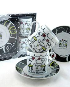 Double Espresso Whimsical Bistro Theme Espresso Cup Favor (Set of 2) #CoffeeTeaSets #wedding #weddingfavor #favor #bridal #bridalshower #babyshower #shower #gift #sale http://www.bluerainbowdesign.com/WeddingFavorProduct.aspx?ProductID=PR031612174999KelowSXimenaBRD40097=WEDDI=GROUP=WTEAS