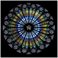 This rose window is in the Strasbourg Cathedral, a famous landmark in Alsace, France, Mandala Stained Glass Church, Stained Glass Art, Stained Glass Windows, Mosaic Glass, Strasbourg Cathedral, Gothic Cathedral, L'art Du Vitrail, Rose Window, Church Windows