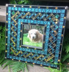 Teal and Gold Mosaic Mirror by MosaicObsession on Etsy Mirror Mosaic, Mirror Tiles, Mosaic Wall, Glass Tiles, Mirror Mirror, Stained Glass Birds, Stained Glass Panels, Van Gogh, Foto Frame