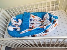 Feathers and blue minky baby nest bed 3 pcs set / baby blanket / butterfly pillow, baby cocoon
