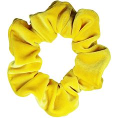 Scrunchies Yellow Velvet Ponytail Holder (Free Shipping) Hair... ($6.82) ❤ liked on Polyvore