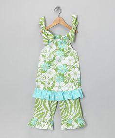 Just Ducky Lime & Aqua Floral Tank & Flare Capri Pants - Toddler & Girls