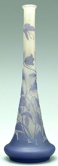 Emile Gallé - Cameo vase with floral and butterfly design