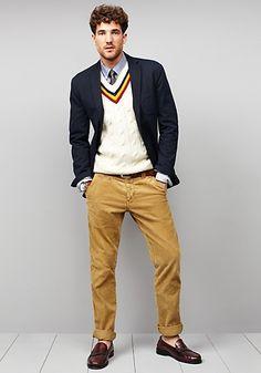 Tommy Hilfiger - dark cord blazer, white wool cricket v-neck sweater, blue shirt, dark tie, dark brown leather belt, khaki cotton twill pant, dark brown loafers