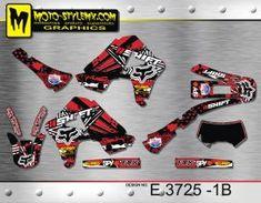 Red FOX & SHIFT full graphics kit for Honda XR 650 R including black number plate backgrounds Motocross, Honda, Custom Design, Decals, Graphics, Kit, Motorbikes, Tags, Graphic Design