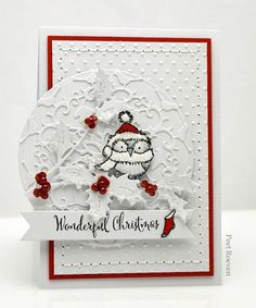 Penny Blac k Supplies        Stamps: wintertime cheer ,  festive snippets       Creative Dies 51-260 bird amidst holly  & 51-055  s...