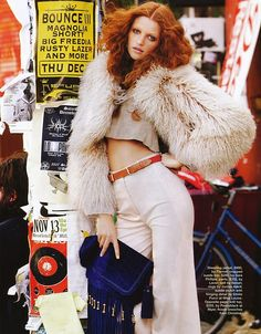 70s fashion, i like crop tops with bell bottoms and fur is cute