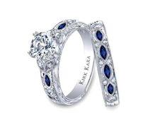 Sapphire and diamond wedding ring set