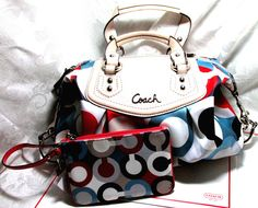 All Coach Auction!!!  And not Coach Carter or Coachella, but Coach bags, fragrances, wallets...everything.  Gorgeous.  Makes me wish I hadn't ever maxxed out all those credit cards back in college (which, in my defense, was the only stress management technique that worked...at least at the time).  Otherwise, I'd be the proud owner of a Coach Signature multi color Optic print tote bag (with matching mini skinny & card case).  Ugh.  Either way, you should check it out!