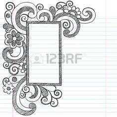Rectangle Picture Frame Border Back to School Sketchy Notebook Doodles