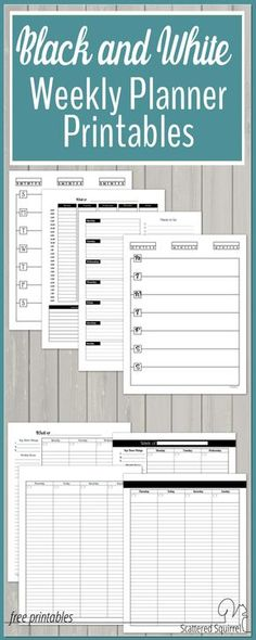 These black and white weekly planner printables are a great canvas for adding washi and stickers too.