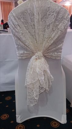 Ivory Lace Hood with Ivory Chair Cover