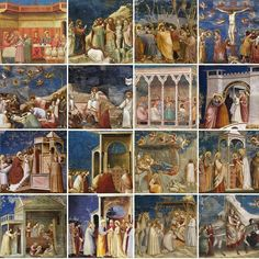 Giotto's masterpieces in the Scrovegni Chapel are amazing paintings of the Gospel and the life of Christ. It is given new meaning however, when assembled back to back all over the chapel walls and ceiling. Medieval Paintings, Renaissance Paintings, European Paintings, Renaissance Art, Italian Painters, Italian Artist, Great Works Of Art, Amazing Paintings, Medieval Art