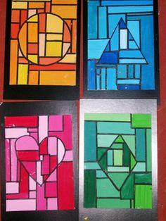 Art ideas~ this link goes to many fun projects like this one that in geometric shape art projects Arte Elemental, Arte Linear, L'art Du Vitrail, Classe D'art, Monochromatic Art, 6th Grade Art, Ecole Art, Math Art, School Art Projects