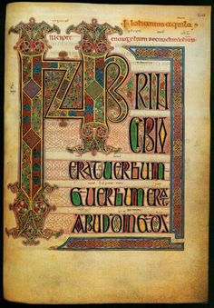 From the Lindisfarne Gospels. The initial page to the text of St, John's Gospel