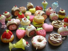 10 Assorted Cute Polymer Clay Charms, Miniature Pastry, Candy, Ice-Cream sundae, Burger, tart, craft, handmade, handicraft, Accessories