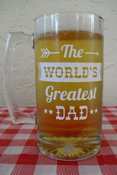 Is dad a beer lover? This personalized large beer mug is a fun keepsake for your brew loving guy!
