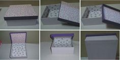 Caixa de MDF encapada com tecidos com estampas cor lilás e roxa. Dimensão: 16 cm x 16 cm x 6 cm. Fabric covered boxes. Lilac and purple colors.