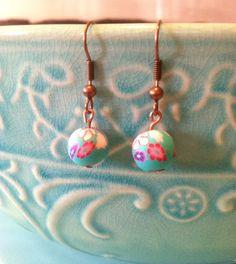 Springtime Flower EarringsLight Blue Pink by HomeGrownCreationz