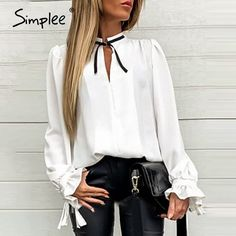 Sexy Solid White Women Long Sleeve Necktie Elegant Tops Office Party B – Simplee Collar Shirts, Shirt Blouses, Party Blouses, Estilo Fashion, Ideias Fashion, Corsage, Tie Blouse, White Long Sleeve, White Women