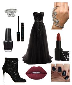 """""""Dark Prom"""" by jennorleigh ❤ liked on Polyvore featuring OPI, Allurez, Dolce&Gabbana, NARS Cosmetics and Lime Crime"""