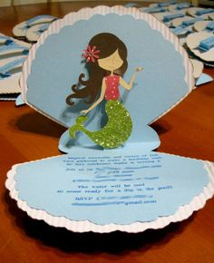 My Little Mermaid Pop Up Invitation/ Under the Sea Pop Up Birthday Invitations. via Etsy. Little Mermaid Birthday, Little Mermaid Parties, The Little Mermaid, Mermaid Invitations, Birthday Invitations, Homemade Invitations, Quinceanera Invitations, Pop Up Invitation, Invite