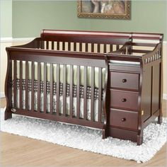 Orbelle Michelle 4-in-1 Convertible Wood Crib and Changer Set in Cherry - 315C