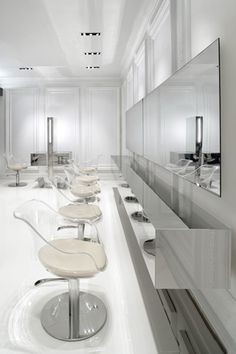 Virtual Tour - Salon Design | Oribe Hair Care Love the clear backs on the chairs so clean and airy looking.