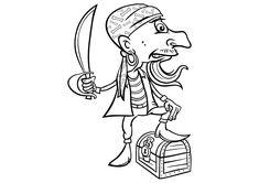 Dibujo para colorear un temible pirata con un sable