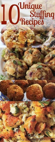 10 of the Best Stuffing Recipes You'll Find! - It's almost Thanksgiving! If you love trying something new, you'll love these awesome and uniq - Unique Stuffing Recipe, Stuffing Recipes For Thanksgiving, Thanksgiving Side Dishes, Thanksgiving Ideas, Winter Dishes, Thanksgiving Celebration, Thanksgiving Desserts, Holiday Dinner, Recipes