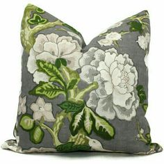 Bermuda Blossoms Pillow cover, Mary McDonald Schumacher Slate Decorative Pillow Covers or Eurosham or lumbar pillow Green Velvet Pillow, Green Pillows, Floral Pillows, Velvet Pillows, Throw Pillows, Lumbar Pillow, Pillow Cover Design, Decorative Pillow Covers, Duvet