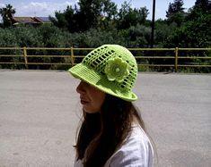 crochet / hat / flower / children / ideas / yarns / hooks / stitches / children / ideas / beautiful / gift / crafts / summer / sun hat / spring / cotton / handmade / etsy /  yellow / green / yellow