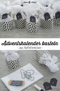 DIY advent calendar tinkering from muffin cases in black and white - pretty, beautiful . - Diy Crafts - DIY advent calendar tinkering from muffin cases in black and white – pretty, beautiful … - Mason Jar Crafts, Mason Jar Diy, Diy Home Crafts, Crafts For Kids, Upcycled Crafts, Kids Diy, Fun Crafts, Christmas Time, Christmas Crafts