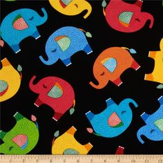 Timeless Treasures Elephants Black from @fabricdotcom  Designed for Timeless Treasures, this fabric is perfect for quilting, apparel and home décor accents.  Colors include red, orange, teal, blue and green on a black background.