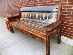 Reclaimed 100  Barn Wood Chevy Tailgate Bench — repurposing at its most creative.