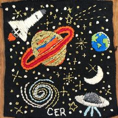 Space embroidery by @chelseaerinray (Instagram) // hand embroidery // Saturn // moon // Galaxy // ufo // stars // patch // hand made patch