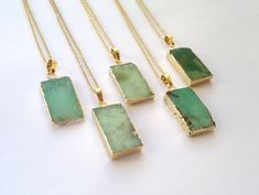 Gold edged chrysoprase slices on a gold plated chain. You can choose, which one youd like to purchase.  Measurements: Stone: They all are