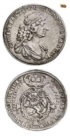 N♡T. NORWAY. Christian V. (1670-1699). Thick, quadruple speziesthaler, 1680. Ahlström 25 (XR). Dav. A 3654. Of greatest rarity, tiny scratch, very fine. Estimate: 50,000 EUR.